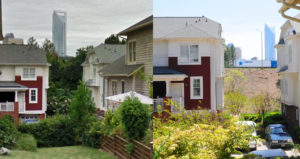 Left image shows homes surrounded by lush vegetation and trees.  Right image shows homes surrounded by dirt after trees and vegetation were removed.