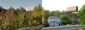 Left image shows a billboard surrounded by large trees. Right image shows the same billboard no longer surrounded by trees. A grey house is now visible due to the cut vegetation.